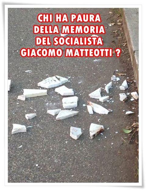 a Roma distrutta da ignoti fascisti la lapide di Matteotti